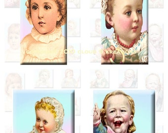 Victorian Babies...1x1 (Inchies) and 1x2 Inch...Digital Collage Sheet - Jewelry, Dominos