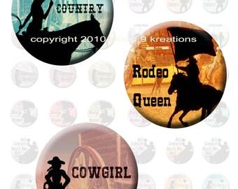 Cowgirl Spirit 1x1 (Inchie) Circles Digital Collage Sheet