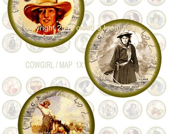 Cowgirl Circles 1x1 (Inchies)...Bottlecap...Digital Collage Sheet 2 - 4 x 14 Unique Images