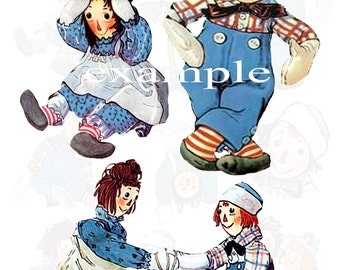 Johnny Gruelle Raggedy Ann And Andy - Bits And Pieces Digital Collage Sheet 1