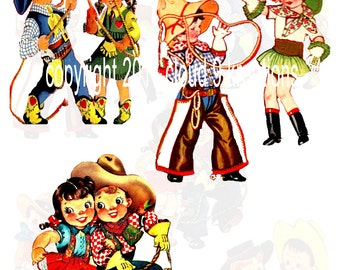 Lil Cowboys And Cowgirls...Western...Digital Collage Sheet