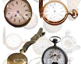 Pocket Watches Digital Collage Sheet