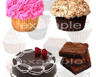 The Sweet Shop Digital Collage Sheet - Cupcakes, Cakes, Brownies, ATC, Scrapbook, Tags, Cards