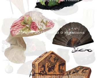 Victorian Women's Hats, Hat Boxes And Accessories Digital Collage Sheet