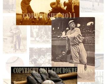 Vintage Baseball Digital Collage Sheet 1