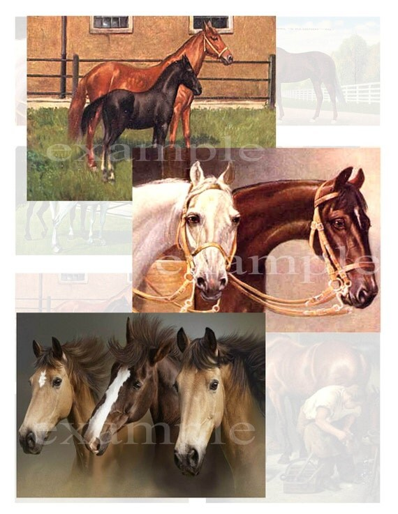Horses Digital Collage Sheet