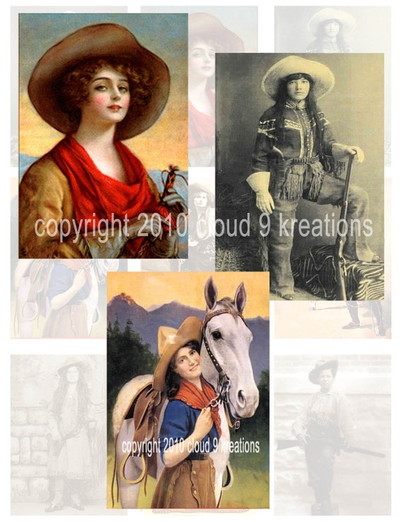 Vintage Cowgirls Digital Collage Sheet 3...Western
