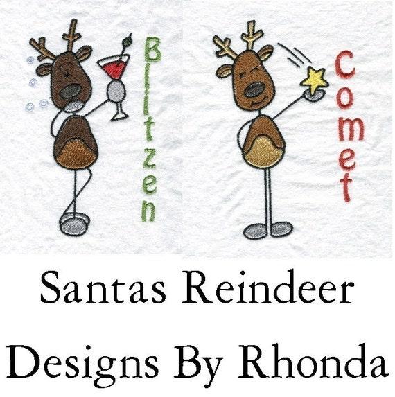 Santas Reindeer Comical Machine Embroidery Designs