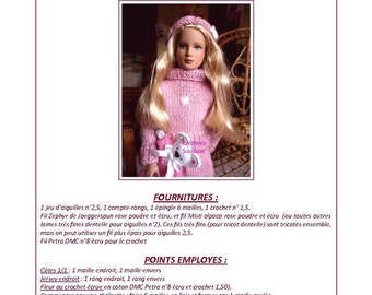 "21.  Only french  INSTANT DOWNLOAD PDF knitting Pattern pour  Marley 12"" fashion doll"