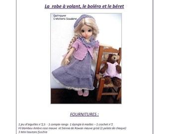 "39. English and  French INSTANT DOWNLOAD PDF knitting Pattern yosd bjd artist dolls 10"""