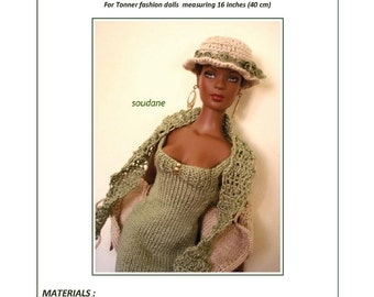 "25. English and  French INSTANT DOWNLOAD PDF knitting Pattern dress and jacket only 16"" Tonner fashion dolls"