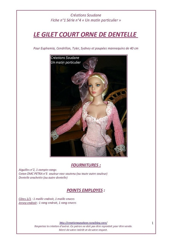 "4.  Only  French INSTANT DOWNLOAD PDF knitting Pattern pour  Tonner 16"" doll"