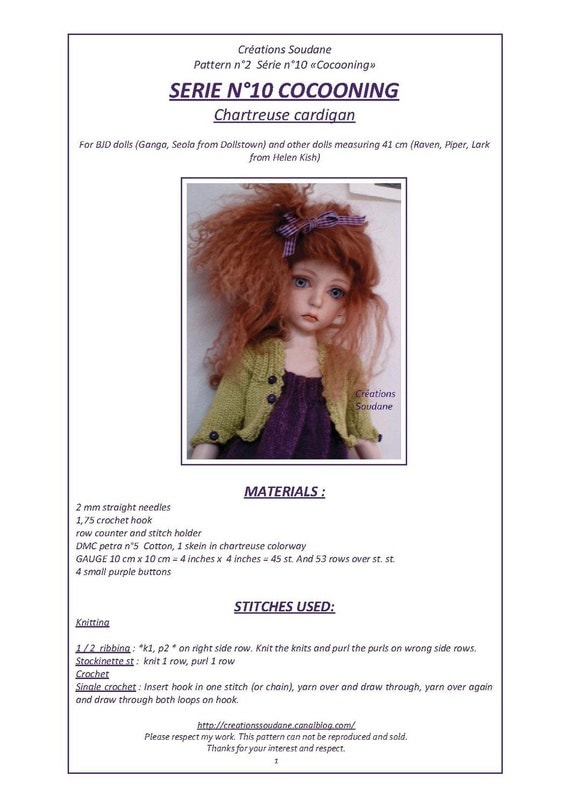 10. English and  French INSTANT DOWNLOAD PDF knitting Pattern for 16 inches dolls bjd msd