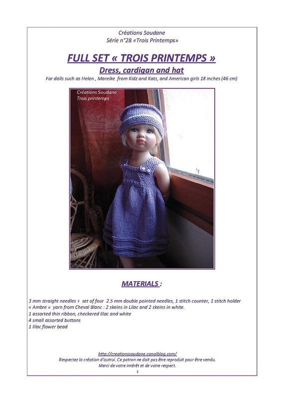 28.  English and  French INSTANT DOWNLOAD PDF knitting Pattern Kid'z'n'cats american girl dolls 18 ""