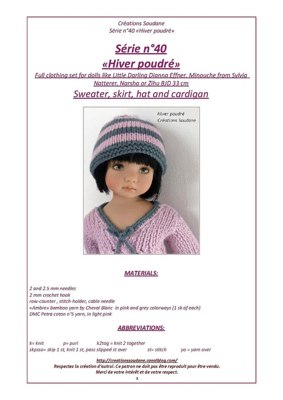"40. English and  French INSTANT DOWNLOAD PDF knitting Pattern13"" dolls Little Darling, Narsha, Zihu"