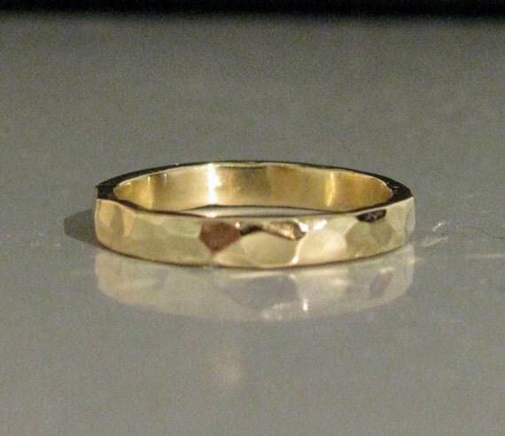 3mm Heavy Hammered Stack Stacking Ring or Wedding Band- Solid 14K, 18K or 22K Gold Men Women