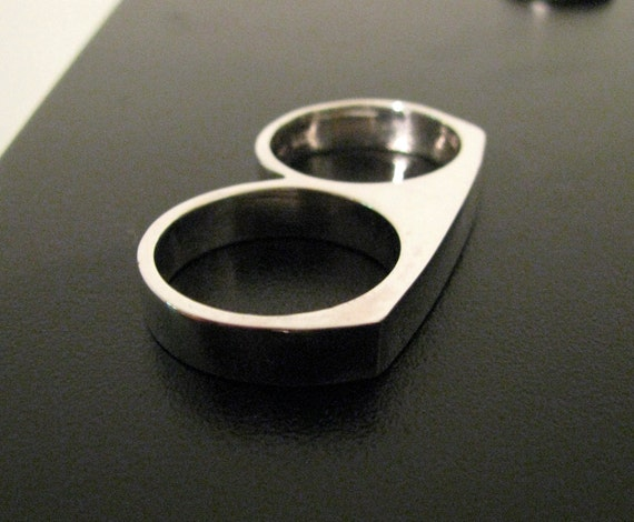 RESERVED for Alex: 2 Finger Ring Double Ring Solid Sterling Silver Custom Made Shiny Finish