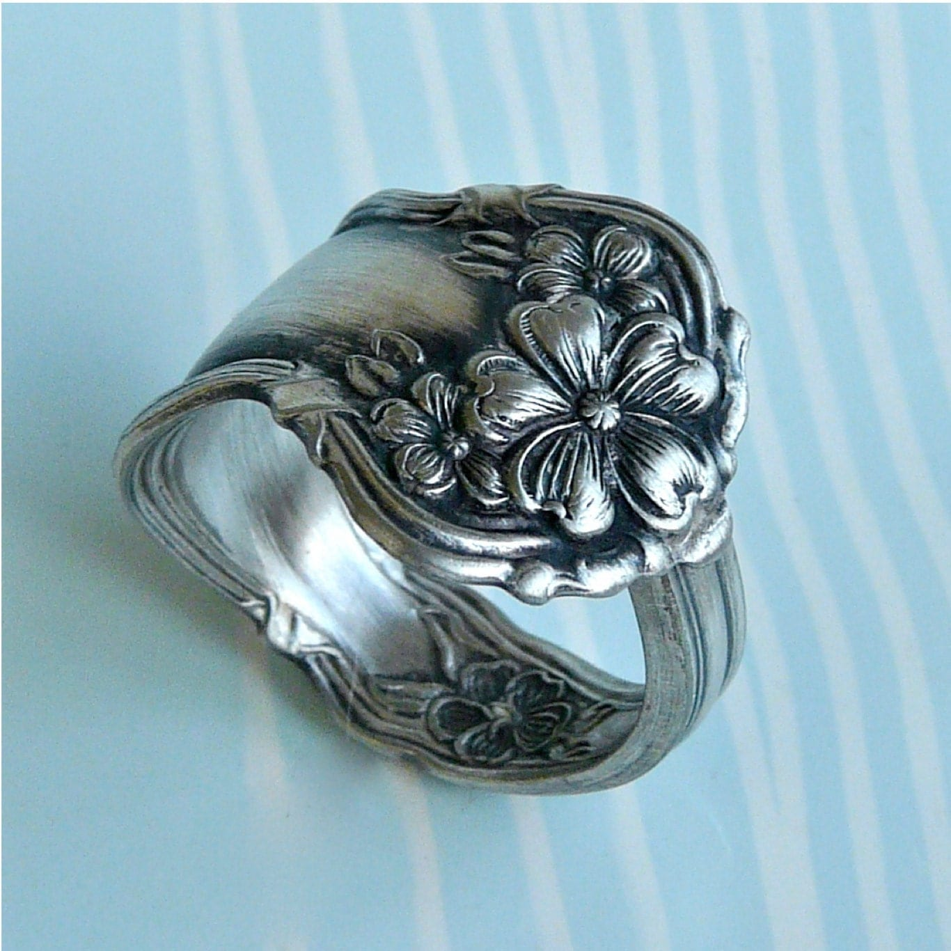 spoon ring antique silver pattern arbutus last one by