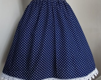 Vintage Cotton Handmade Blue Skirt With Venice Lace Trim
