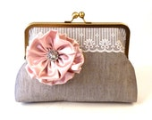 MANY COLORS- Wedding Clutch- Bridal Purse-- Bridesmaids Clutches- Grey Clutch with Rose Flower Brooch