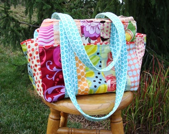Watermelon Wishes Patchwork Stylish Modern Diaper Bag