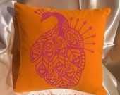 Holiday Sale: Peacock Pillow-Saffron Orange and Magenta Pink-Retro Hand Silkscreened Pillow-Great for Dorm Rooms, Bedrooms, and Couches