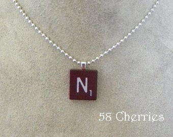 """Mahogany Vintage Scrabble Tile Pendant - """"N"""" - Choose your letter - Eclectic Jewelry - Steampunk Chic - Upcycled"""