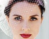 Ivory Wedding Veil - Birdcage Veil - Blusher Veil - White Bridal Veil - Half Veil - Crystal Veil - Champagne Veil - Black Veil