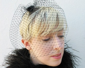 Black Birdcage Veil, Classic Bridal, Netted Veil, Blusher Veil, Mourning Veil, Gothic, High Fashion, Black Rose, Hair Accessory