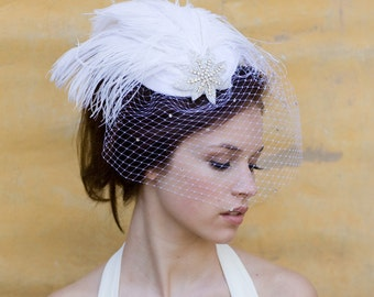 Wedding Veil, Birdcage Veil, Bridal Hat, Feather Fascinator, White, Wedding Head Piece, Art Deco Star, Blusher, Batcakes Couture