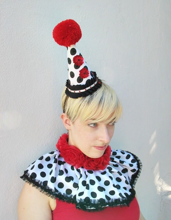 Red and White Clown Hat with Swarovski Crystals - Birthday Party Hat - Burlesque Costume - Circus Headpiece - Black and White Polka Dots
