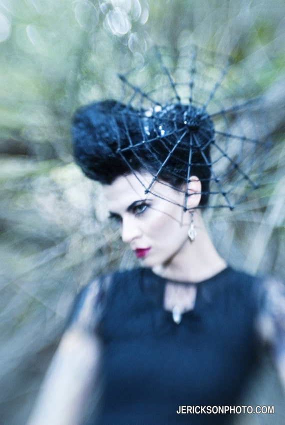 Spiderweb Hat, Spider Headpiece, Halloween Costume, High Fashion Witch Couture, Spider Web Fascinator, Black Cocktail Hat, Goth Wedding