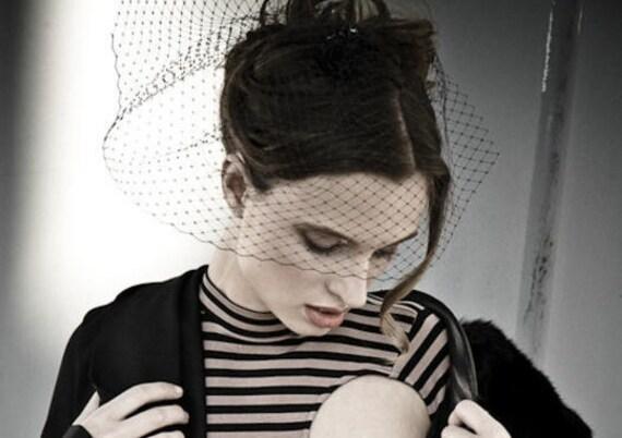 Black Veil - Blusher Length - Clip In - Birdcage Style Half Veil - Gothic Wedding - Prom Fashion - Formal Wear