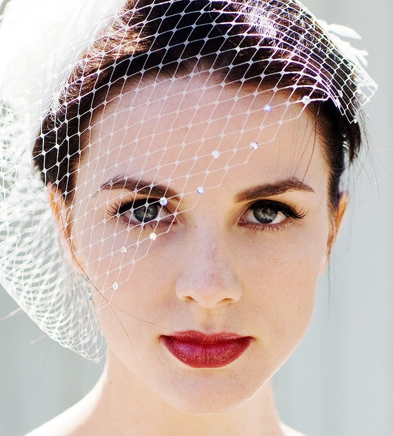 Ivory White Wedding Veil, Birdcage Veil, Blusher Veil, White Bridal Veil, Crystal Veil, Bling Veil, Clip In or Comb