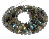 2 strands of Blue Flashy Labradorite Micro Faceted Rondelles Size - 6-8mm length 14 inchesFine Quality Wholesale Price