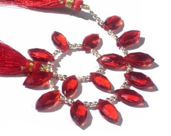7 Inches -  Finest Quality AAA Reddish Orange Quartz Faceted Marquise Briolettes Size 14x7mm approx Wholesale Price