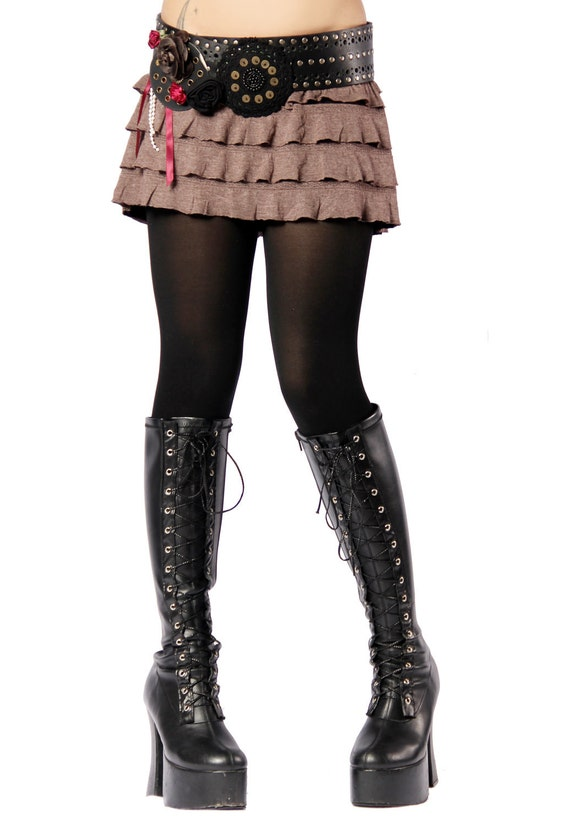 Simple Skirt, Mini Ruffles, Browns, Layering Skirt, Cabaret, Vaudeville, Steampunk, Wrap, Vampire, Noir, Gothic, Witchy, Black Rock, Dance
