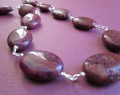 plum wine crazy lace agate wire work necklace and earrings set