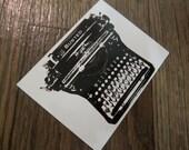 Typewriter sticker - black and white