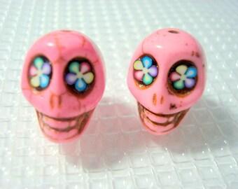 Bright Color Flower Eyes Bubble Gum Pink 18mm Howlite Sugar Skull Beads