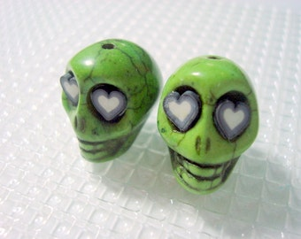 Green Howlite Skull Beads with Black and White Hearts for Eyes