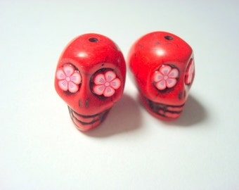 Bright Color Flower Eyes Bloodshot Red Howlite 18mm Sugar Skull Beads