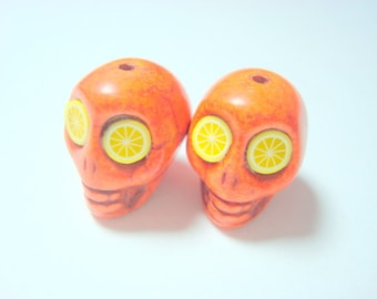 Citrus Slice Howlite 18mm Sugar Skull Beads