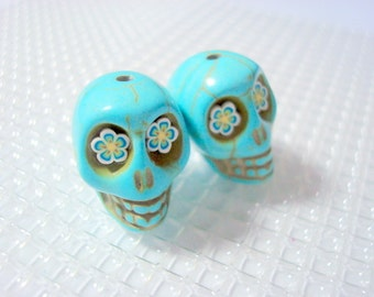 Sugar Skull BeadsTurquoise Howlite 18mm Skull Beads with Fun Flower Eyes