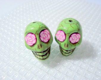 Sugar Skull Beads Rosy Eyes Green Skull Day of the Dead Howlite 18mm Skull Beads