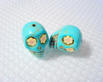 Turquoise Howlite 18mm Sugar Skull Beads with Yellow Flower Eyes