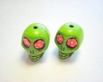 Red Flower Eyes in Green Howlite 18mm Sugar Skull Beads