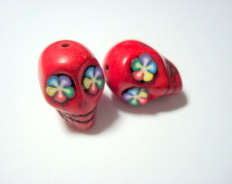 Bright Color Flower Eyes Red Howlite Skull Beads