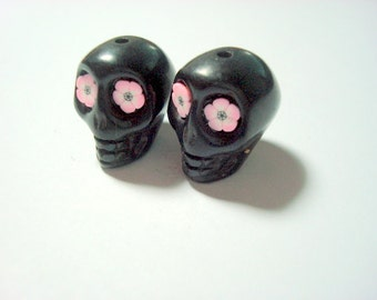 Pink Flower Eyes in Black Day of The Dead 18mm Sugar Skull Beads