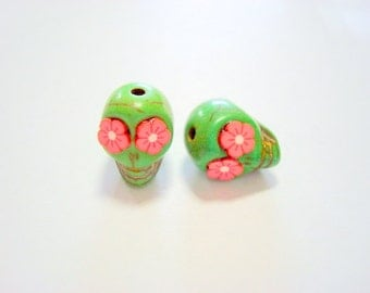 Red Flower Eyes in Small Green Day of The Dead Skull Beads-12mm